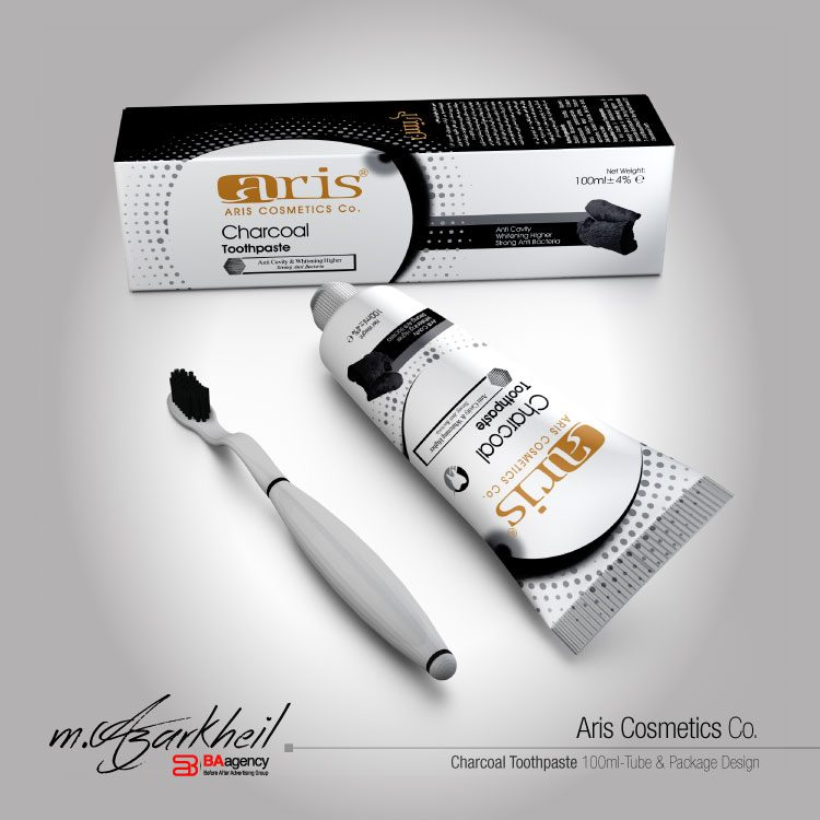 Aris Co. Charcoal Toothpaste Tube & Packaging Design